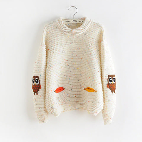 Owl Shirt O-Neck Collar Loose Cashmere Sweater