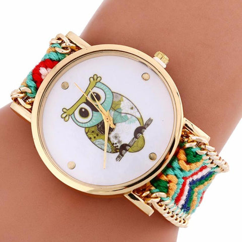Owl Watch With Handmade Woven Wrist