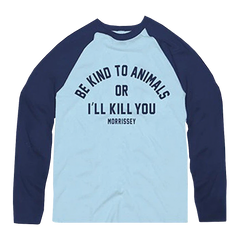 Be Kind To Animals Blue Baseball Tee
