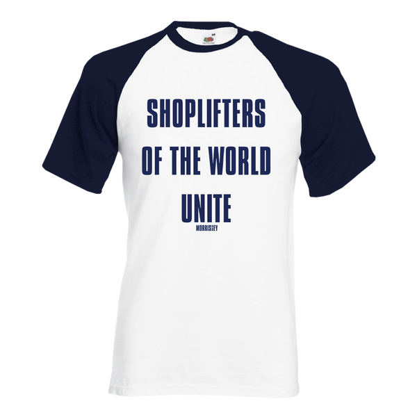 Shoplifters White and Navy Baseball Tee