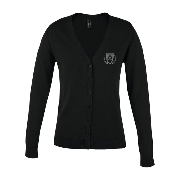 Black Embroidered Shield Ladies Cardigan