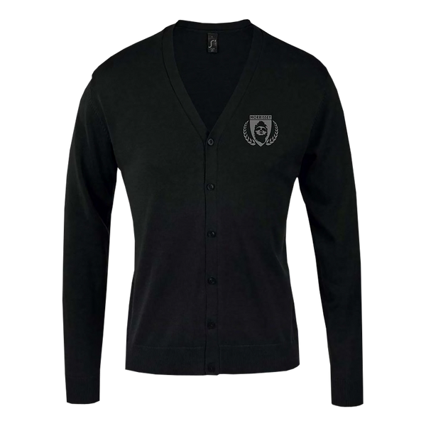 Black Embroidered Shield Men's Cardigan