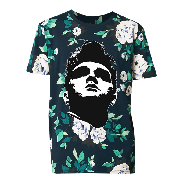All Over Floral Print Face T-Shirt
