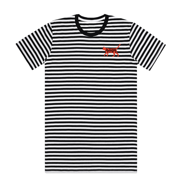 Black/White Cat Striped T-Shirt