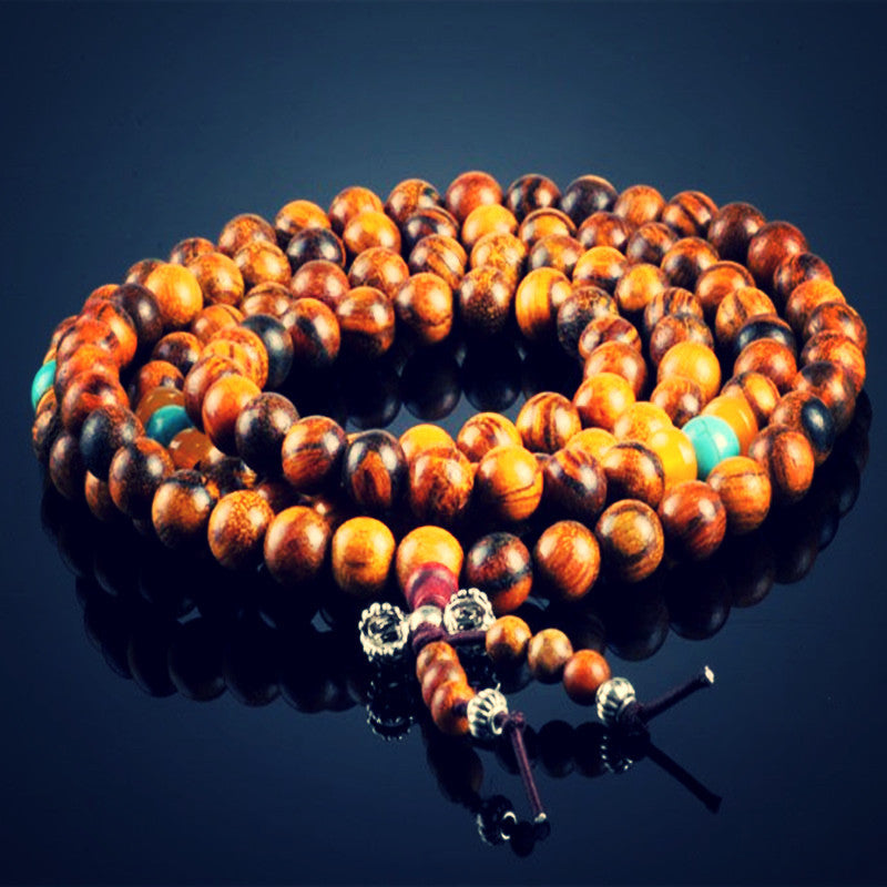 Natural Vietnamese handmade fragrant Agarwood Buddha prayer mala bracelet for meditation. (1/4 to 1/5 inch/8mm wooden)