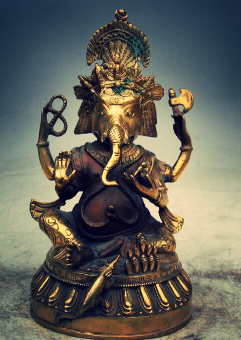 "11"" Authentic Tibetan Buddhist Brass Lord Ganesha Statue (Cast bronze)"