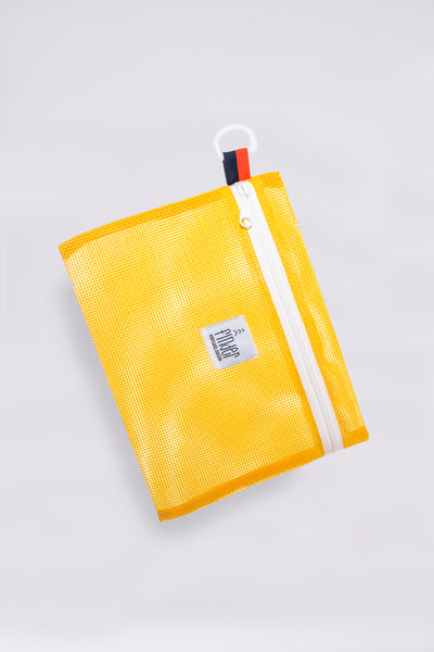 Yellow Mesh Accessory Pouch