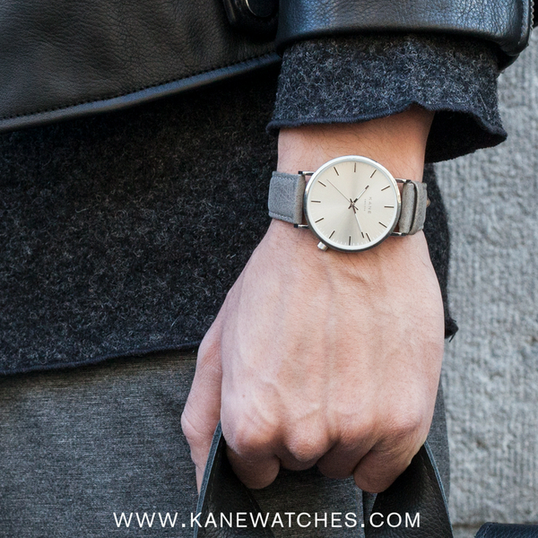 KANE Watches Clean Men's Watches Silver face featuring grey italian leather men's watch strap