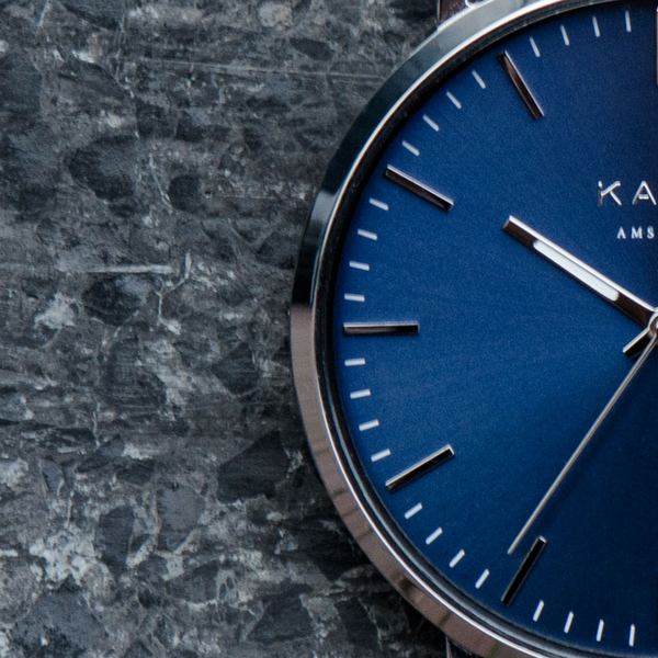 KANE Watches Essential Men's Watches Featuring Interchangeable Straps. Blue Arctic. Blue Men's Watch Face Featuring Stainless Steel Strap.