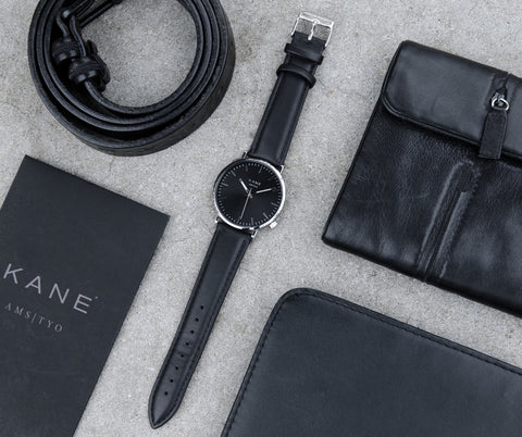 KANE Watches minimal designed watches for men featuring interchangeable straps. Black Code case All Black Men's Watch Face.