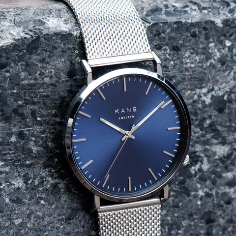 KANE Watches Minimal Men's watch featuring interchangeable straps, Blue Arctic watch face for men.