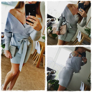 Blue Sweater Dress Wrap High Waist V-neck Belt Casual - FrankyTee