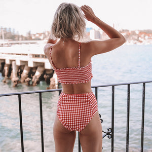 Cute High Waist Swimsuits Sexy Red Gingham Smocked Bandeau Bikini - FrankyTee