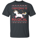 Christmas is Magical Unicorn Ugly Christmas T-Shirt - FrankyTee