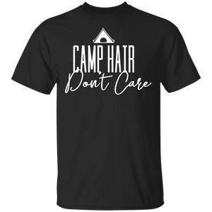 Women's Funny Camping T-shirt 'Camp Hair Don't Care' - FrankyTee