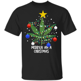 Marijuana Leaf Tshirt Merryjuana Christmas Tree Lights Funny - FrankyTee