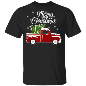 Red Truck Merry Christmas Tree Vintage Red Pickup Truck Tee - FrankyTee