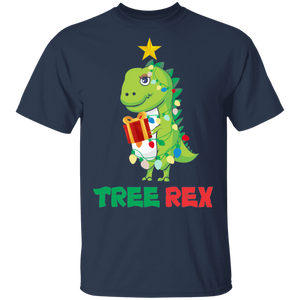 Tree Rex T-Shirt Funny Dinosaur Christmas Tree Lights - FrankyTee