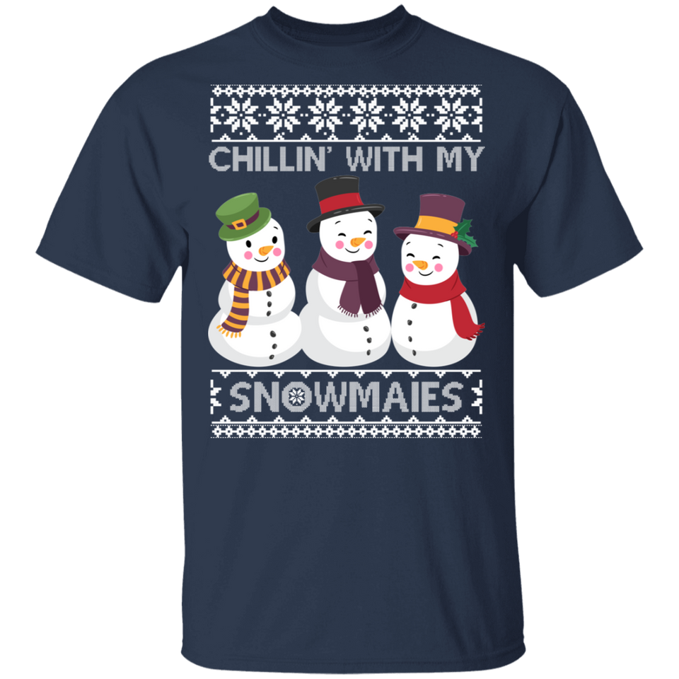 Chillin With My Snowmies Ugly Christmas T-shirts - FrankyTee