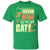 21 I Just Want to Drink Wine and Pet my Cat  T-Shirt - FrankyTee