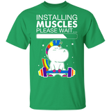 Unicorn Installing Muscles Please Wait Funny Fitness T-shirt - FrankyTee