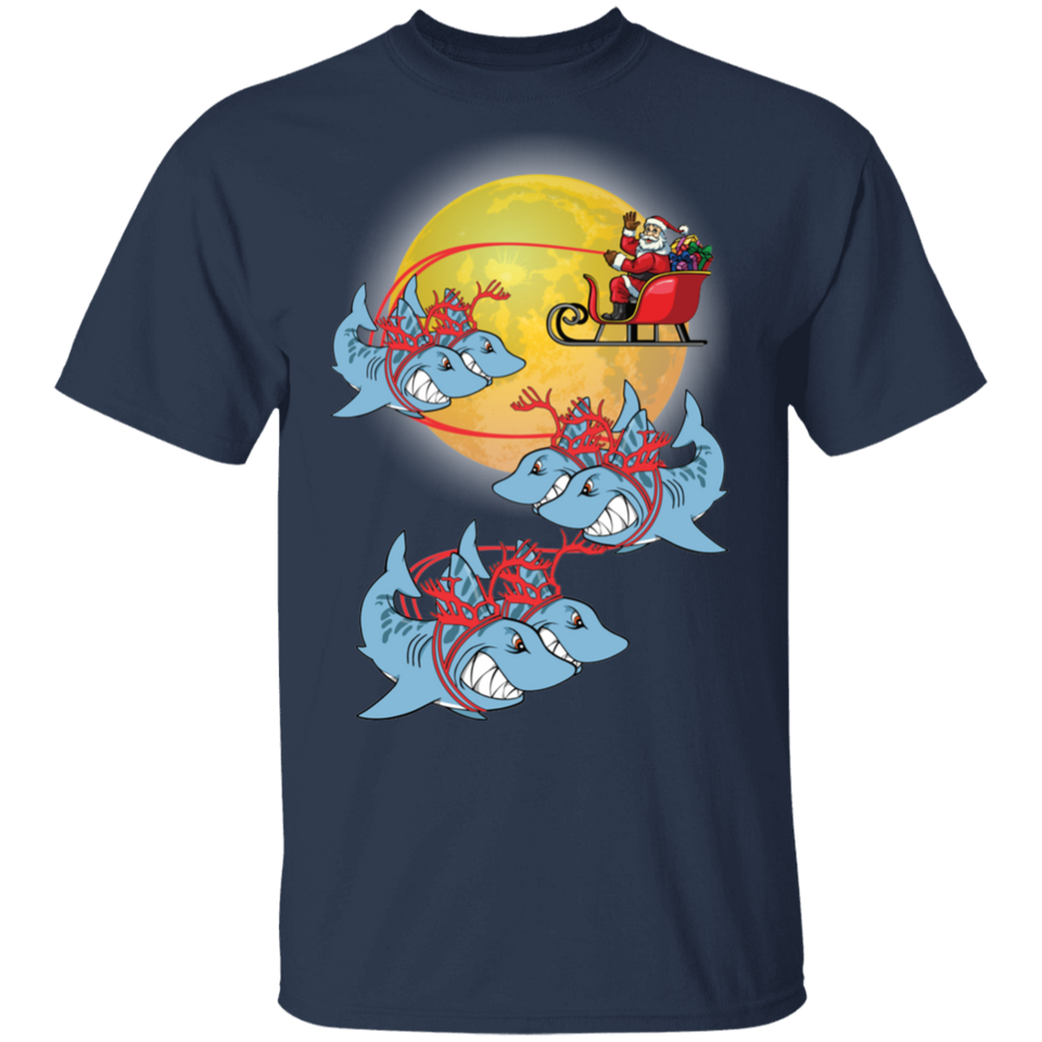 Santa Claus Riding Shark Christmas T shirt Funny Xmas Gifts - FrankyTee