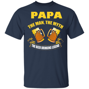 Mens Papa- The Man Myth Beer Drinking Legend T Shirt - FrankyTee