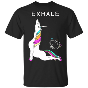 Exhale Yoga T-shirt Unicorn With Rainbow - FrankyTee