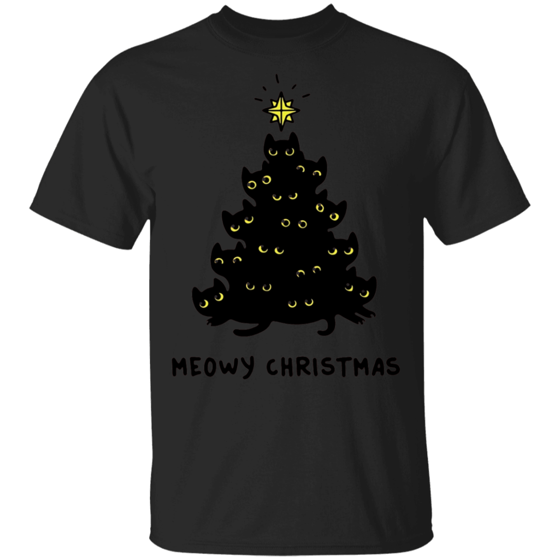 Kitten Tree Christmas T shirt Meowy Christmas Tee