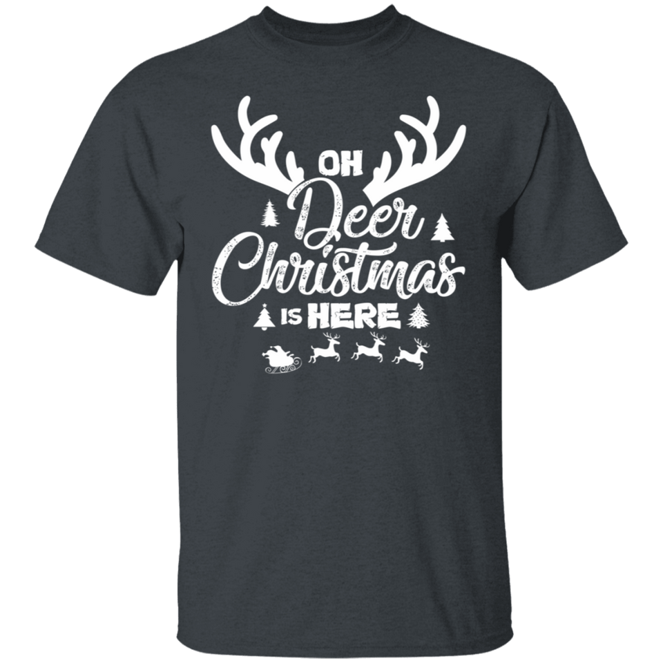 Oh Deer Christmas is Here T-Shirt Gift Xmas for Adult - FrankyTee