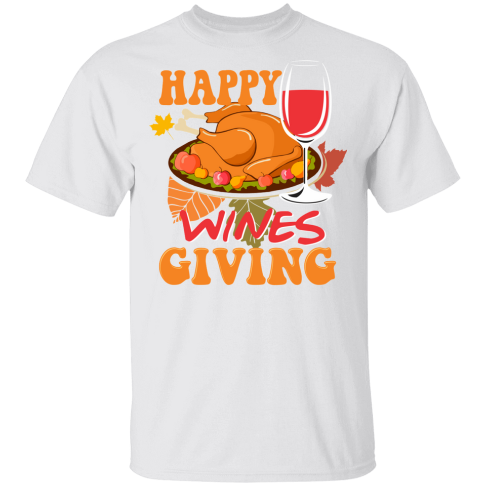 Thanksgiving Food Happy Winesgiving Thanksgiving T-Shirt - FrankyTee