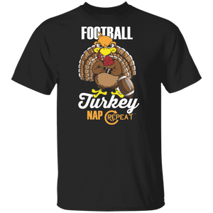 Football Turkey Nap Repeat Shirt Thanksgiving Football T Shirt - FrankyTee