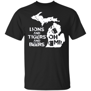 Active Shirt LIONS and TIGERS and BEERS OH MI - FrankyTee