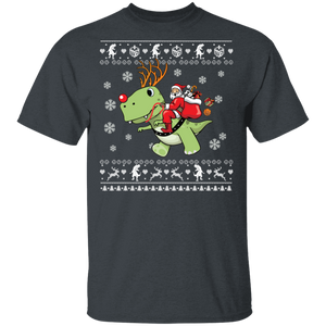 T-Rex Santa Ugly Christmas Sweater Shirt - FrankyTee
