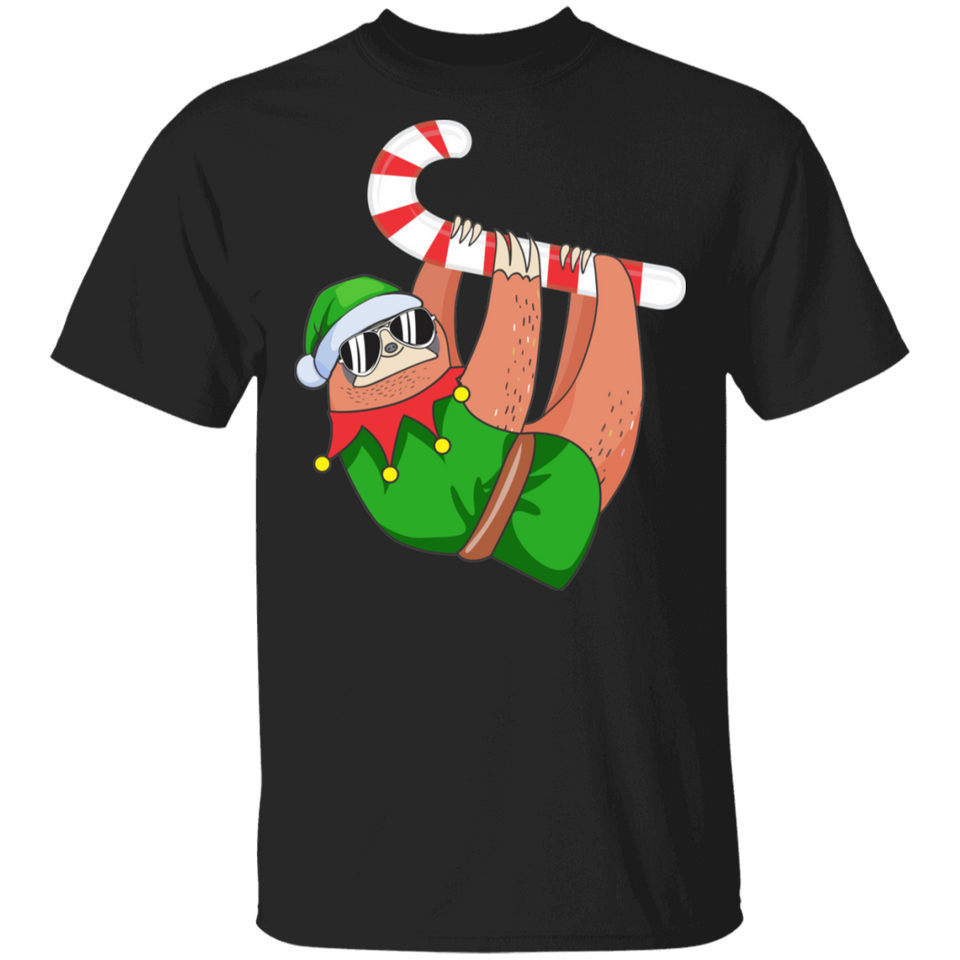 Christmas Sloth Elf Peppermint Candy Cane Shirt - FrankyTee