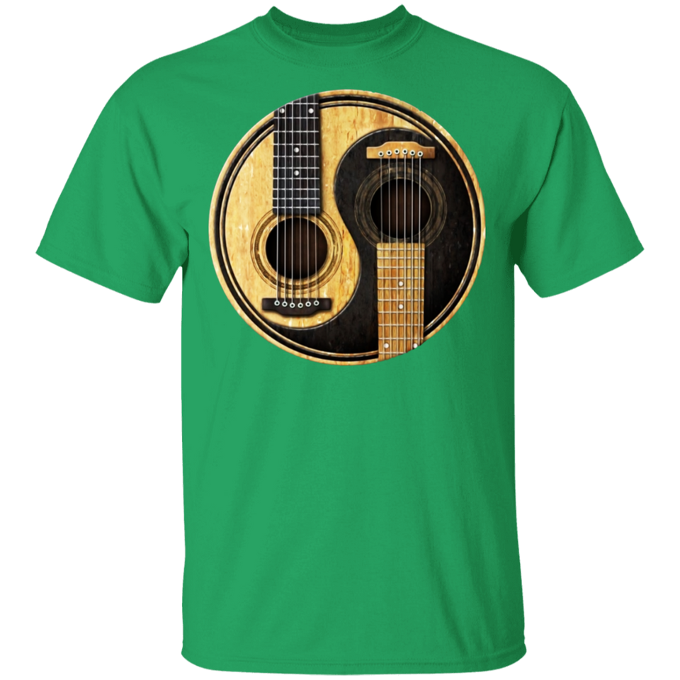 Old and Worn Acoustic Guitars Yin Yang T Shirt - FrankyTee