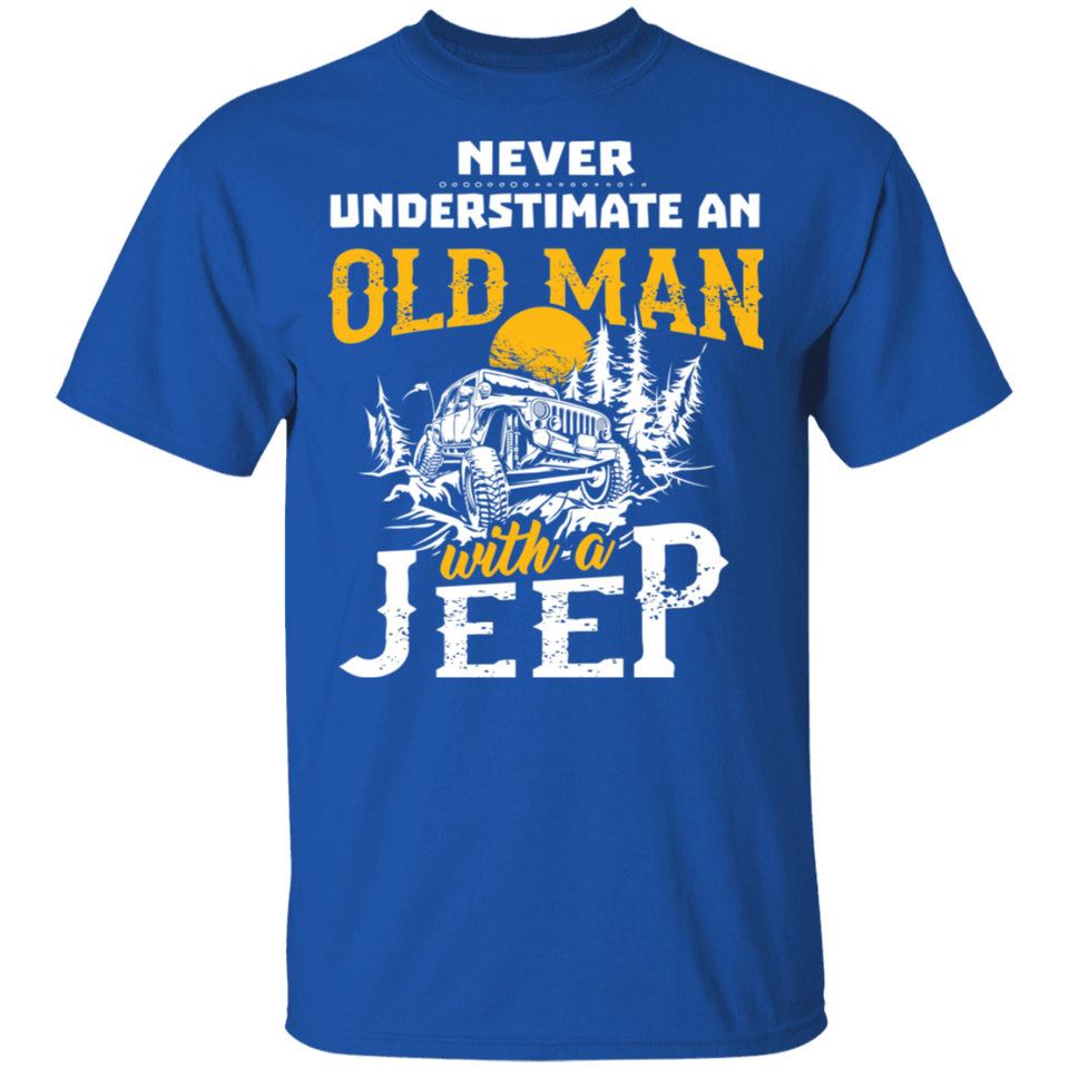 NewmeUp Men's Never Underestimate An Old Man With A Jeep Tshirts - FrankyTee