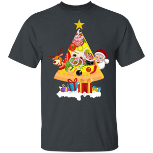 Pizza Shirt Funny Pizza Lovers Tree Christmas Shirt - FrankyTee