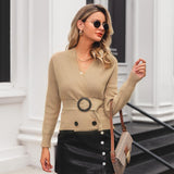 Elegant V-neck Button Sash Women Cardigan Outwear Jumper Coat - FrankyTee