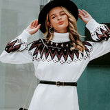 Geometric Print Knitted Dress Casual Turtleneck Pullover - FrankyTee