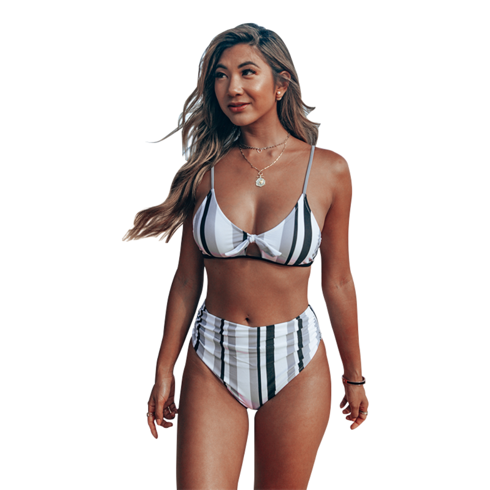 High-Waist Bikini Sets Sexy Navy And White Vertical Stripe Women Cut Out - FrankyTee