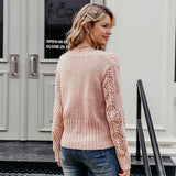 Hollow Out Crochet Knitted Cardigan High Waist Long Sleeve Sweater - FrankyTee