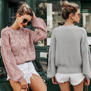 Hollow Out Knitted Pullover Lantern Sleeve Sweater O-neck Casual - FrankyTee