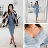 Knitted Skirt Suits Batwing Sleeve 2 Pieces Elegant Sexy V-neck Sweater - FrankyTee