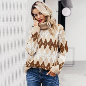 Knitted Women Belmont Mock Neck Christmas Sweater - FrankyTee