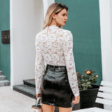 White Lace Blouse Sexy See Through Female Chic Puff Sleeve Crew Neck - FrankyTee