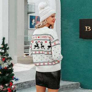 O-neck Ugly Christmas Sweaters Deer Print Knitted Long Sleeve - FrankyTee