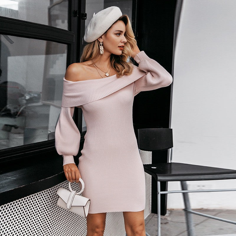 Pink Knitted Dress Off Shoulder Long Sleeve Soft Sweater Dress - FrankyTee