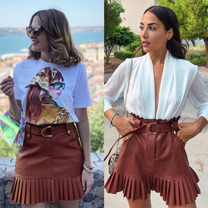 Sash Belt Pu Leather Women Skirt Ruffled High Waist Mini Skirt - FrankyTee
