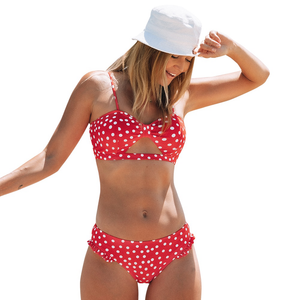 Scoop Red And White Polka Dot Bikini Sets Two Pieces Swimwear Beach Bathing Swimwear - FrankyTee